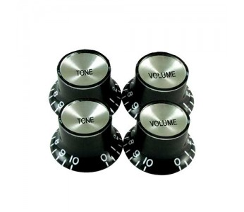 Guitar Patrol - Virgo Reflector Cap Knob (4 pcs) Black/Silver