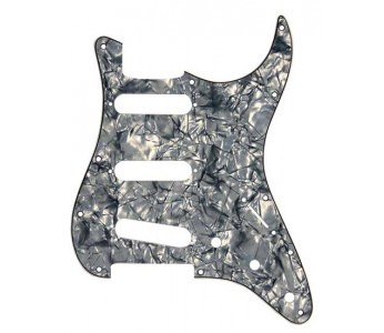 Virgo Strat® Style SSS Pickguard 3-ply Black Pearloid