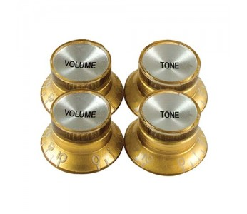 Guitar Patrol - Virgo Reflector Cap knobs (4pcs) - Gold/Chrome