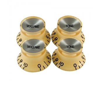 Guitar Patrol - Virgo Reflector Cap knobs (4pcs) - Cream/Chrome