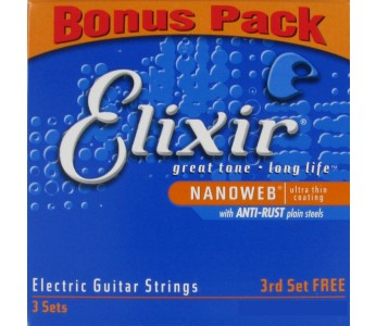 Elixir electric guitar strings, 3 sets .009