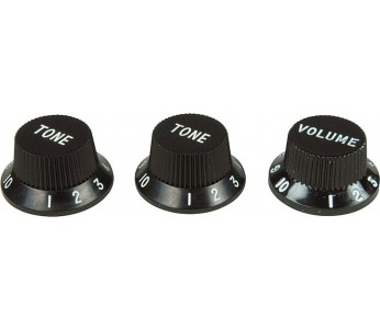 Virgo Plastic Knob Set (3 pcs) Fender Style Black