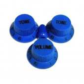 Allparts Knob Set 2T + 1V + Switch Dark Blue