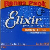 Elixir Electric Guitar Strings Nanoweb 10-46 3-Pack