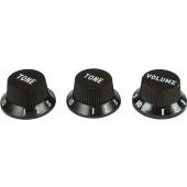 Virgo Plastic Knob Set (3 pcs) Fender Style Black